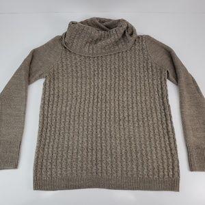 Gnw Women's Medium Brown Cowl Neck Knit Sweater